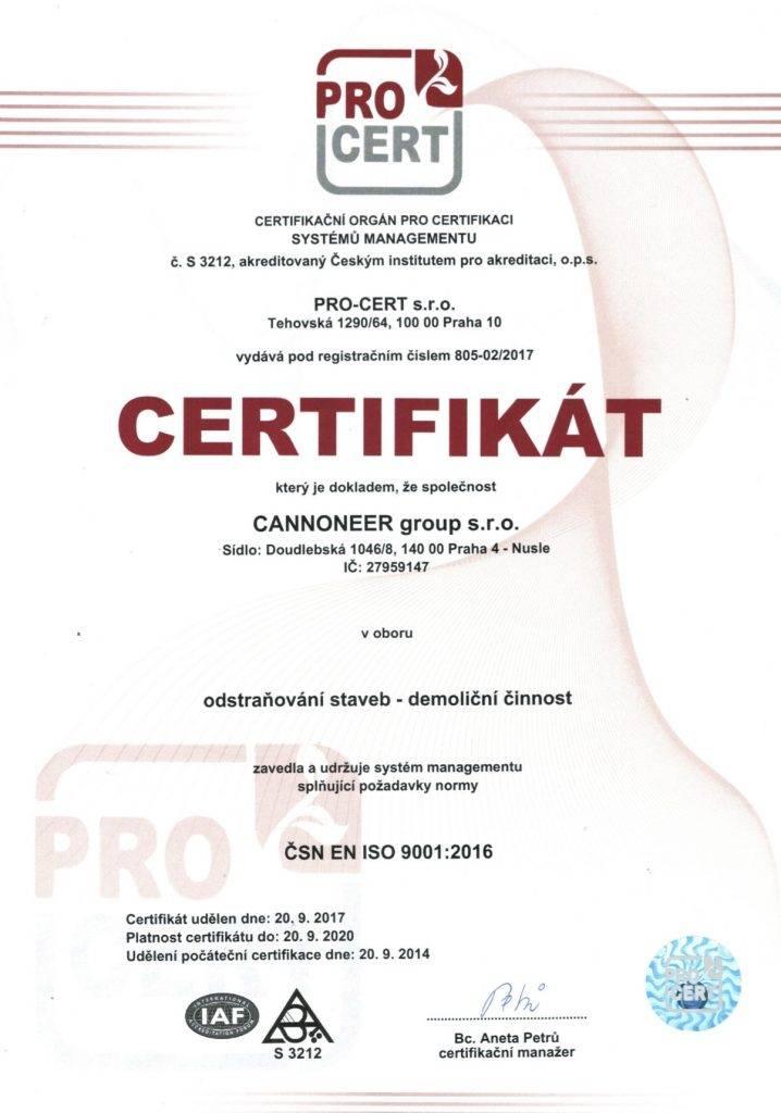 ISO 2017-2020 certifikát Cannoneer